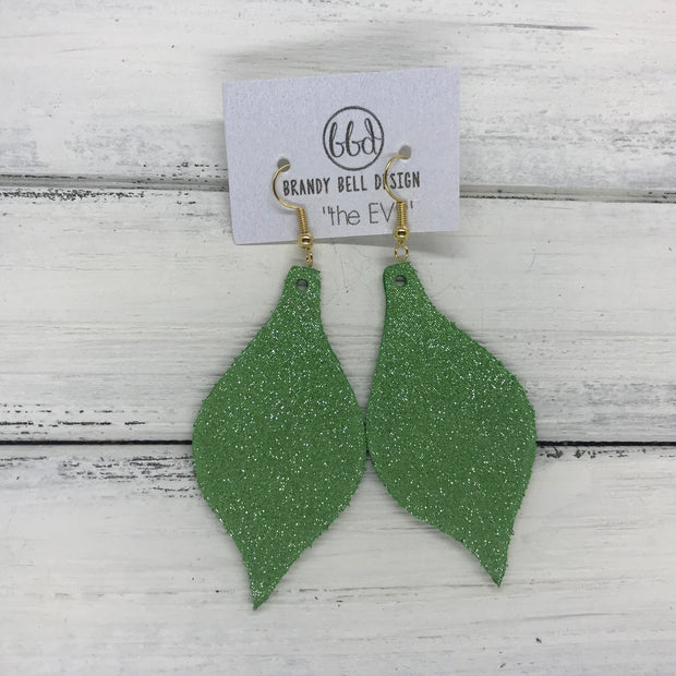 MAE - Leather Earrings  ||  SHIMMER GREEN