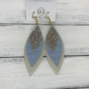 DOROTHY - Leather Earrings  ||  <BR> GLAMOUR GLITTER (FAUX LEATHER) <BR> LIGHT BLUE BRAIDED <BR> CHAMPAGNE PEARL