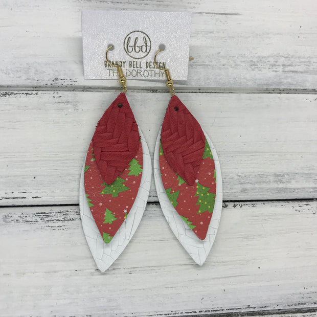 DOROTHY - Leather Earrings  ||  <BR> RED BRAIDED, <BR> RED & GREEN CHRISTMAS TREES <BR> WHITE BRAIDED