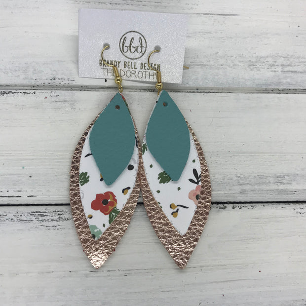 DOROTHY - Leather Earrings  ||  <BR> MATTE DUSTY AQUA, <BR> VINTAGE CHRISTMAS FLORAL (FAUX LEATHER) <BR> METALLIC ROSE GOLD PEBBLED