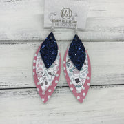 DOROTHY - Leather Earrings  ||  <BR> NAVY GLITTER (FAUX LEATHER), <BR> SNOWMAN PRINT (FAUX LEATHER), <BR> PINK & WHITE POLKADOTS
