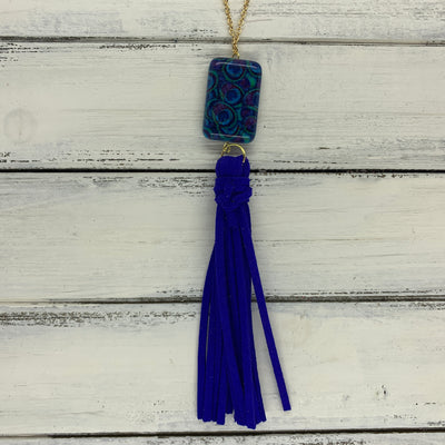 TASSEL NECKLACE - TIFFANIE      ||  ELECTRIC BLUE TASSEL WITH PEACOCK FEATHERS DECORATIVE BEAD