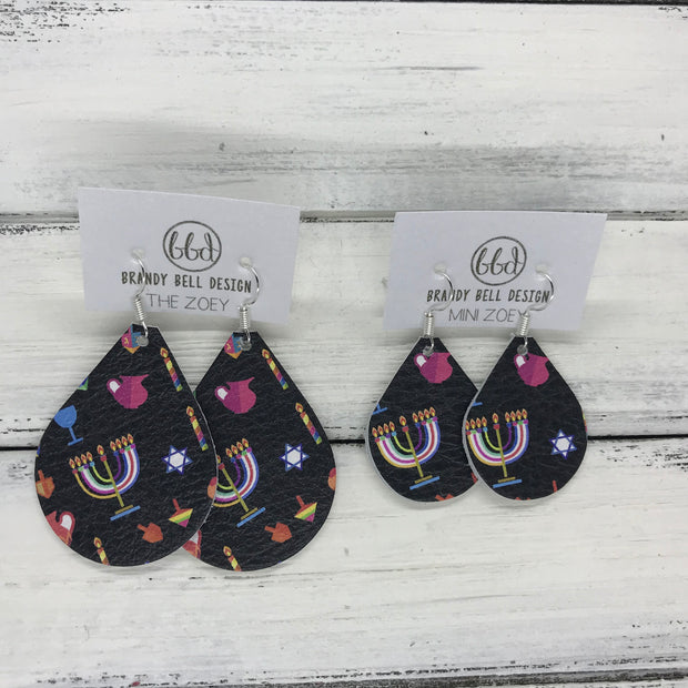 ZOEY (3 sizes available!) -  Leather Earrings  ||  HANUKKAH PRINT ON BLACK