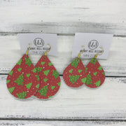 ZOEY (3 sizes available!) -  Leather Earrings  ||  CHRISTMAS TREES ON RED