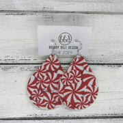 ZOEY (3 sizes available!) -  Leather Earrings  ||  PEPPERMINT PRINT (FAUX LEATHER)