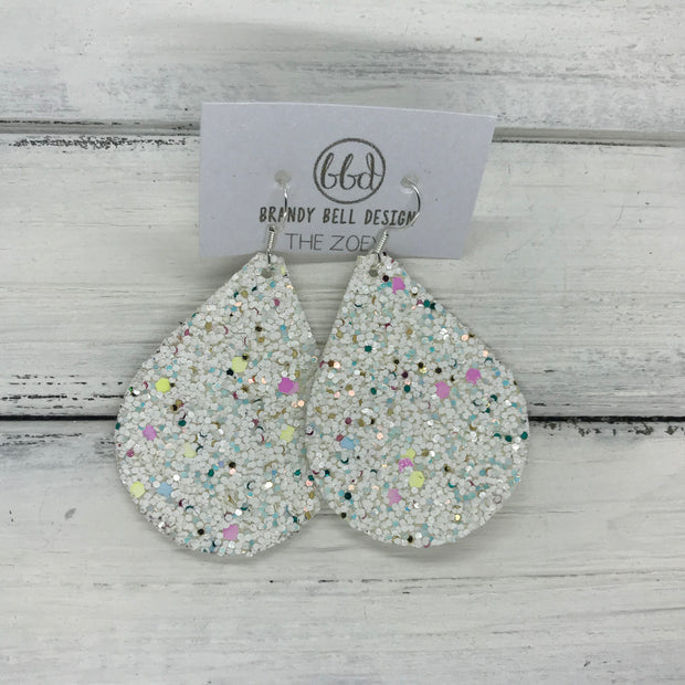 ZOEY (3 sizes available!) -  Leather Earrings  ||  CONFETTI CAKE GLITTER (FAUX LEATHER)