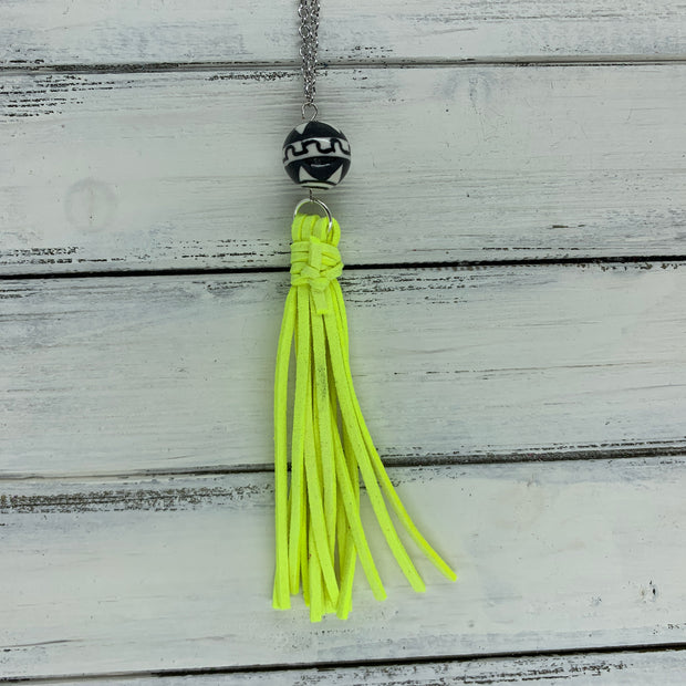 TASSEL NECKLACE - TIFFANIE      ||  NEON YELLOW TASSEL WITH BLACK & WHITE DECORATIVE BEAD