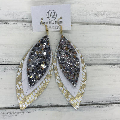 INDIA - Leather Earrings   ||  <BR> SILVER & GOLD CHUNKY GLITTER (FAUX LEATHER),  <BR> MATTE WHITE<BR> GOLD & WHITE CHERVON