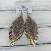 INDIA - Leather Earrings   ||  <BR> GLAMOUR GLITTER (FAUX LEATHER),  <BR> METALLIC ROSE GOLD PEBBLED, <BR> METALLIC GOLD BRAIDED