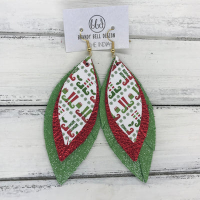 INDIA - Leather Earrings   ||  <BR> ELF SHOES (FAUX LEATHER),  <BR> METALLIC RED PEBBLED, <BR> SHIMMER GREEN