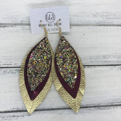INDIA - Leather Earrings   ||  <BR> CHUNKY GOLD JEWELS GLITTER (FAUX LEATHER),  <BR> METALLIC CRANBERRY SMOOTH, <BR> METALLIC GOLD PEBBLED