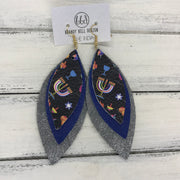 INDIA - Leather Earrings   ||  <BR> HANUKKAH PRINT ON BLACK,  <BR> MATTE COBALT BLUE, <BR> SHIMMER GRAY
