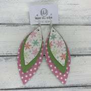 INDIA - Leather Earrings   ||  <BR> GLITTER SNOWFLAKES (FAUX LEATHER),  <BR> MATTE BRIGHT GREEN, <BR> PINK WITH WHITE POLKADOTS