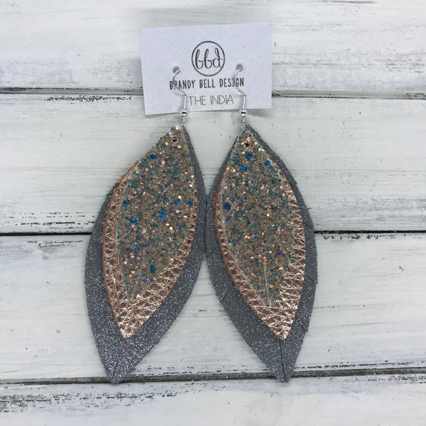INDIA - Leather Earrings   ||  <BR> GLAMOUR GLITTER (FAUX LEATHER),  <BR> METALLIC ROSE GOLD PEBBLED, <BR> SHIMMER GRAY