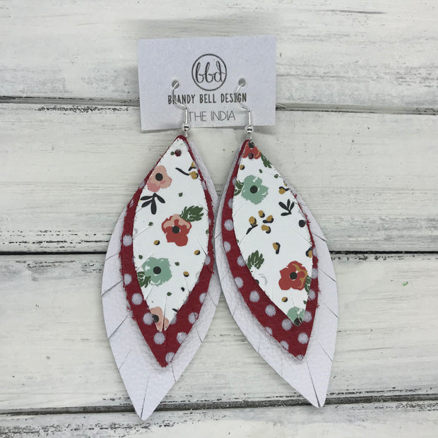 INDIA - Leather Earrings   ||  <BR> VINTAGE CHRISTMAS FLORAL (FAUX LEATHER),  <BR> RED WITH WHITE POLKADOTS, <BR> MATTE WHITE
