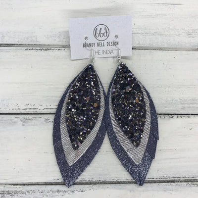 INDIA - Leather Earrings   ||  <BR> NAVY & SILVER GLITTER (FAUX LEATHER),  <BR> METALLIC SILVER SAFFIANO, <BR> SHIMMER NAVY