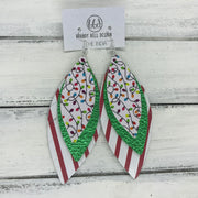 INDIA - Leather Earrings   ||  <BR> CHRISTMAS LIGHTS (FAUX LEATHER),  <BR> METALLIC GREEN PEBBLED, <BR> RED & WHITE STRIPES