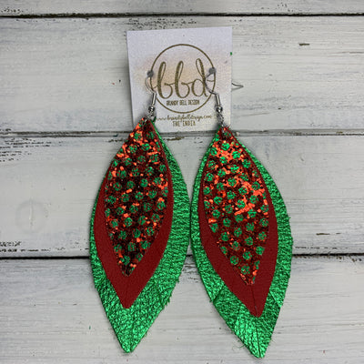 INDIA - Leather Earrings   ||  <BR> RED WITH GREEN POLKADOT GLITTER (FAUX LEATHER),  <BR> MATTE RED, <BR> METALLIC GREEN PEBBLED