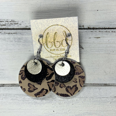 GRAY - Leather Earrings  ||    <BR> METALLIC CHAMPAGNE SMOOTH, <BR> SHIMMER BLACK,  <BR> CHEETAH PRINT HEARTS (FAUX LEATHER)