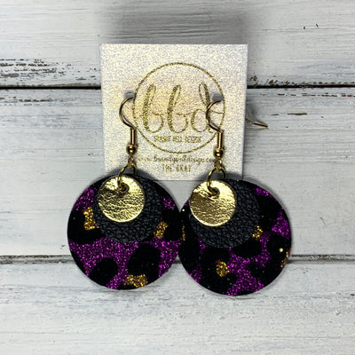 GRAY - Leather Earrings  ||    <BR> METALLIC GOLD SMOOTH, <BR> MATTE BLACK,  <BR> PURPLE GLITTER CHEETAH (FAUX LEATHER)