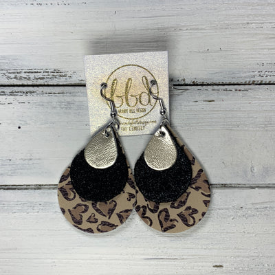 LINDSEY - Leather Earrings  ||   <BR> METALLIC CHAMPAGNE SMOOTH, <BR> SHIMMER BLACK,  <BR> CHEETAH PRINT HEARTS