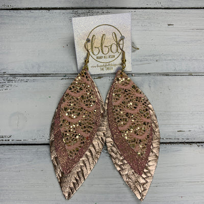INDIA - Leather Earrings   ||  <BR> ROSE GOLD LACE GLITTER (FAUX LEATHER),  <BR> SHIMMER VINTAGE PINK, <BR> METALLIC ROSE GOLD BRAIDED