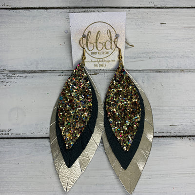 INDIA - Leather Earrings   ||  <BR> CHUNKY GOLD JEWELS GLITTER (FAUX LEATHER),  <BR> MATTE HUNTER GREEN, <BR> METALLIC CHAMPAGNE SMOOTH