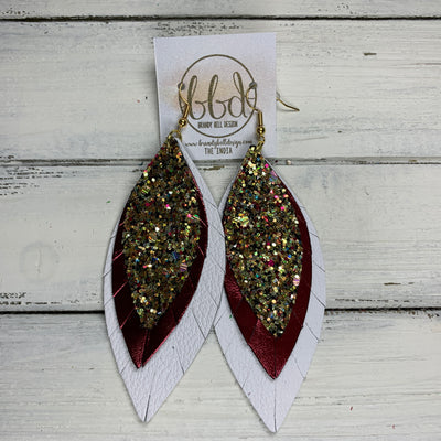 INDIA - Leather Earrings   ||  <BR> CHUNKY GOLD JEWELS GLITTER (FAUX LEATHER),  <BR> METALLIC BURGUNDY SMOOTH, <BR> MATTE WHITE