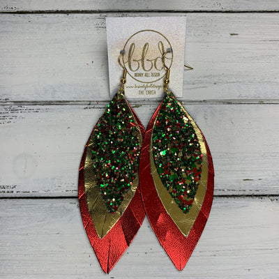 INDIA - Leather Earrings   ||  <BR> CHRISTMAS GLITTER (FAUX LEATHER),  <BR> METALLIC GOLD SMOOTH, <BR> METALLIC RED SMOOTH
