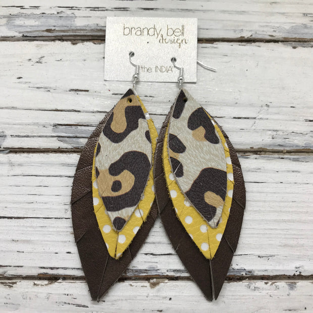 INDIA - Leather Earrings  ||   LARGE CHEETAH PRINT, YELLOW WITH WHITE POLKADOTS, PEARLIZED DARK BRONZE