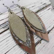 INDIA - Leather Earrings  ||   SHIMMER GOLD, IVORY STINGRAY, SMOOTH METALLIC ROSE GOLD