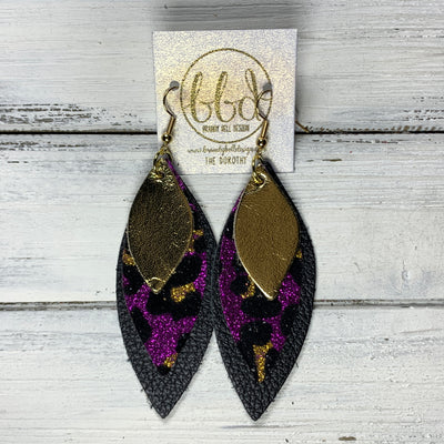 DOROTHY - Leather Earrings  ||  <BR> METALLIC GOLD SMOOTH, <BR> PURPLE GLITTER CHEETAH PRINT(FAUX LEATHER), <BR> MATTE BLACK