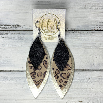 Copy of DOROTHY - Leather Earrings  ||  <BR> SHIMMER BLACK, <BR> CHEETAH PRINT HEARTS(FAUX LEATHER), <BR> METALLIC CHAMPAGNE SMOOTH