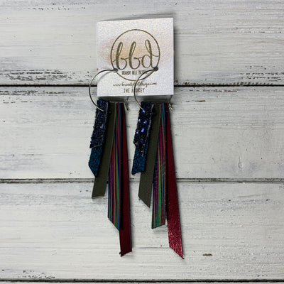 AUDREY - Leather Earrings  ||   NAVY BLUE GLITTER (FAUX LEATHER), SHIMMER TEAL, MATTE OLIVE GREEN, MULTICOLOR STRIPE, METALLIC CRANBERRY SMOOTH