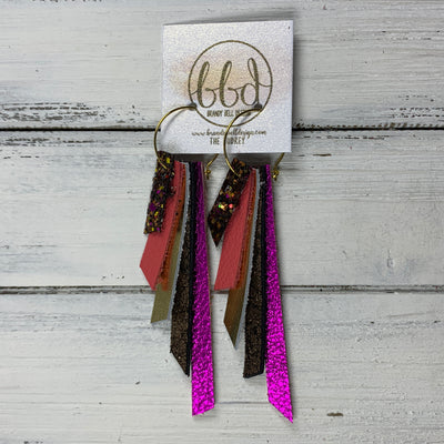 AUDREY - Leather Earrings  ||   AUTUMN HARVEST GLITTER (FAUX LEATHER), MATTE CORAL/PINK, METALLIC GOLD SMOOTH, SHIMMER COPPER, METALLIC NEON PINK