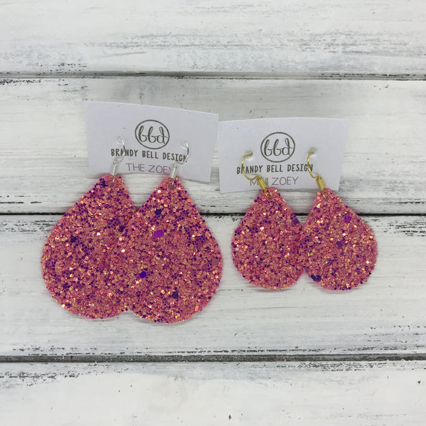 ZOEY (3 sizes available!) -  GLITTER ON CANVAS Earrings  (not leather)  ||  RASPBERRY FIZZ GLITTER