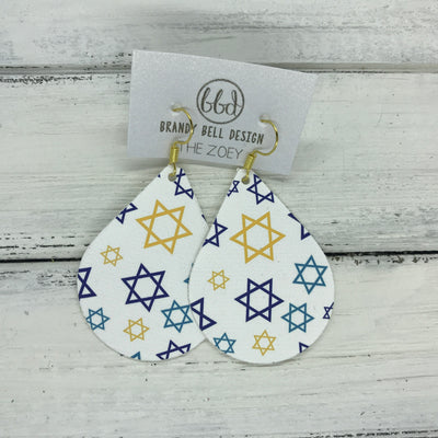 ZOEY (3 sizes available!) -  GLITTER ON CANVAS Earrings  (not leather)  ||  STAR OF DAVID