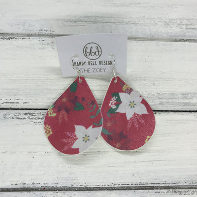 ZOEY (3 sizes available!) -  GLITTER ON CANVAS Earrings  (not leather)  ||  <BR> POINSETTIA (*thin- tends to curl)