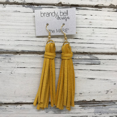 MARIE - Faux Suede Tassel Earrings  || MUSTARD SUNFLOWER YELLOW