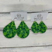 ZOEY (3 sizes available!) -  Leather Earrings  ||   SHAMROCKS- MULTI (FAUX LEATHER)