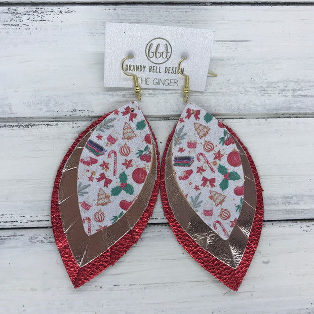 GINGER - Leather Earrings  ||  <BR>  VINTAGE CHRISTMAS (FAUX LEATHER),  <BR> METALLIC ROSE GOLD SMOOTH, <BR> METALLIC RED PEBBLED