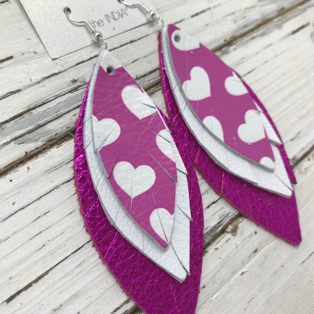 INDIA - Leather Earrings  ||  PURPLE/PINK HEARTS, MATTE WHITE, METALLIC NEON PINK