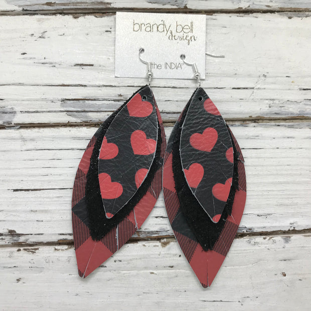 INDIA - Leather Earrings  ||  BLACK/RED HEARTS, SHIMMER BLACK, RED & BLACK BUFFALO PLAID