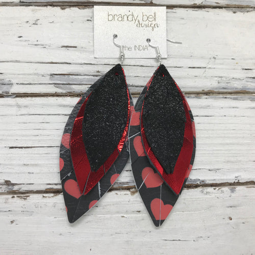 INDIA - Leather Earrings  ||  SHIMMER BLACK, METALLIC RED, BLACK/RED HEARTS