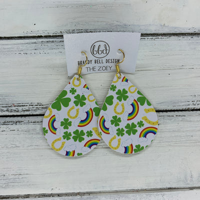 ZOEY (3 sizes available!) -  Leather Earrings  ||   SHAMROCKS & RAINBOWS (FAUX LEATHER)