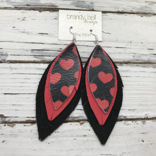 INDIA - Leather Earrings  ||   BLACK/RED HEARTS, MATTE CORAL, SHIMMER BLACK