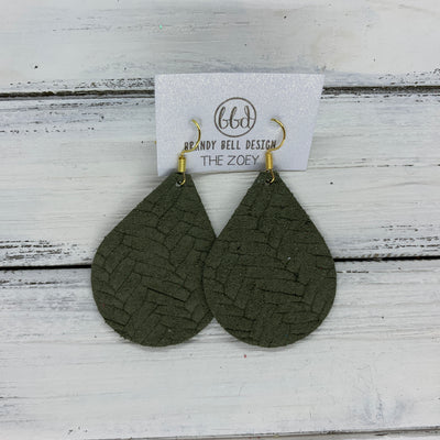 ZOEY (3 sizes available!) -  Leather Earrings  ||   OLIVE GREEN BRAIDED