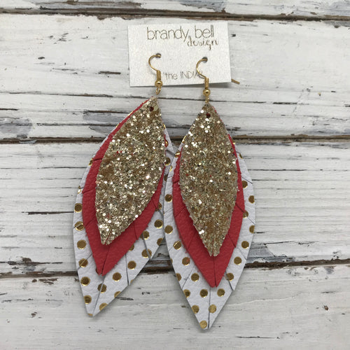INDIA - Leather Earrings  ||  GOLD GLITTER (FAUX LEATHER), MATTE CORAL, WHITE WITH METALLIC GOLD POLKADOTS