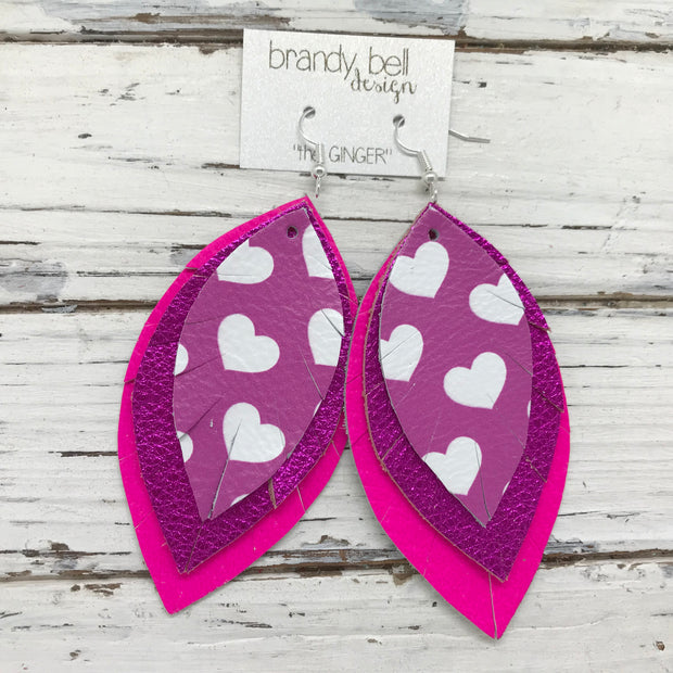 GINGER - Leather Earrings  ||  PINK/PURPLE HEARTS, METALLIC NEON PINK, MATTE NEON PINK