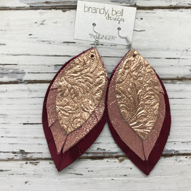 GINGER - Leather Earrings  ||  METALLIC ROSE GOLD WESTERN FLORAL, METALLIC VINTAGE PINK, METALLIC BURGUNDY
